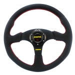 MOMO - CAR 14INCH LEATHER AUTOMOBILE RACE STEERING WHEEL RED